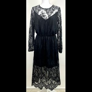 H&M BLACK FLORAL LACE LONG SLEEVE VICTORIAN DRESS